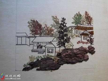 树叶画作品